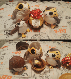 """Tumblr, Blog, and Grand: GRAND  FERRERC  ROCHER  9-88 porgsandpops:Peggy and Chester are enjoying some fine chocolates while Jorge plays around with a new """"hat""""."""
