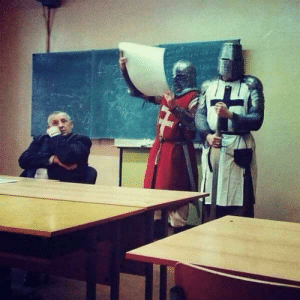 Grand Master Hospitaller reports about the capture of Jerusalem to Pope Urban II, 1101. (Colorized): Grand Master Hospitaller reports about the capture of Jerusalem to Pope Urban II, 1101. (Colorized)