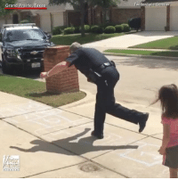 """Driving, Memes, and Police: Grand Prairie, Texas  witter Gens  Lyle A Texas detective """"skipped"""" out on his lunch break, opting to play a quick game of hopscotch with a little girl. Detective Lyle Gensler of the Grand Prairie Police Department said he waved at the girl while driving by. After she waved back, he got out of his squad car and decided to join the game."""