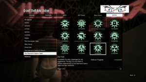 All casino heist elite challenges done!: Grand Theft Auto Online  Xbox Store  ONLINE  FRIENDS  INFO  SETTINGS  STATS  All Awards  Victory  General  Complete  Complete  Complete  Crimes  CRA  Vehicle  Combat  Heists  The Doomaday Heist  Complete  Complete  Complete  After Hours  Arena War  The Diamond Casino & Resort  Complete  Complete  Complete  Complete  The Diamond Casino Heist  Rewards  Elite Thiet  Complete the elite chalenges for the  Aggressive, The Big Con and Silent &  Sneaky approaches to The Diamond Casino  Platinum Progress  Completed  Heist and earm $350000.  Page 1 of 3  Back All casino heist elite challenges done!