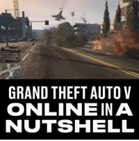 Memes, Grand, and 🤖: GRAND THEFT AUTO V  ONLINEIN A  NUTSHELL How perfectly does this sum up GTAV? 😂 -- 🎮 - @GAMINGbible 💰- @ODDSbible 🐶 - @PRETTY52 📸 - @LENSbible 📖 - @FACTSbible 😂 - @LADbible ⚽ - @SPORTbible 🍔 - @FOODbible