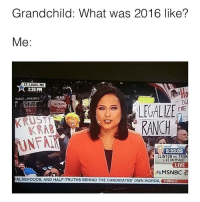 Memes, Msnbc, and Laced: Grandchild: What was 2016 like?  Me  ST. LOUIS MO  2:26 PM  LACE POLITICS  SNB  LE ALIVE  THE  016  2016  KRAB  5:33:05  CLINTON VS TRU  LIVE ON MSNBC  LIVE  MSNBC  ALSEHOODS, AND HALF-TRUTHS BEHIND THE CANDIDATES' owN WORDS  2:26PM CT @savagecomedy hates 2016 as much as the rest of us 😂