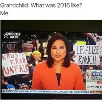 Memes, Politics, and Live: Grandchild: What was 2016 like?  Me:  ST. LOUIS, MO  2:26 PM  PLACE POLITICS  SNB  MSNBC  LEVALLE  016  2016  N  KRAB  5:33:0!  CLINTON vs. T  LIVE ON MSN  LIV  MSNBC  FALSEHOODS, AND HALF-TRUTHS BEHIND THE CANDIDATES' owN woRDs, 2:26PMcT Yes.