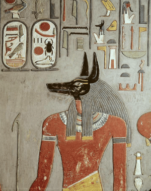 grandegyptianmuseum:  Mural of Anubis at Tomb of Horemheb. 18th Dynasty, ca.1567-1320 BC. Valley of the Kings, Ancient Thebes.: grandegyptianmuseum:  Mural of Anubis at Tomb of Horemheb. 18th Dynasty, ca.1567-1320 BC. Valley of the Kings, Ancient Thebes.
