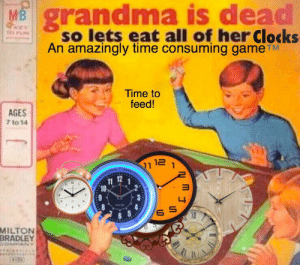 Hungry hungry https://t.co/6cjK2SnvJB: grandma is dead  so lets eat all of her Clocks  An amazingly time consuming game TM  MB  OPAEY  Time to  feed!  AGES  7 to 14  12  11  11  10  MILTON  BRADLEY  DOMPANY  12 Hungry hungry https://t.co/6cjK2SnvJB