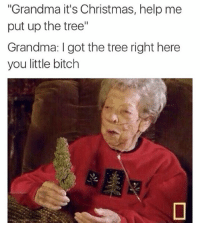 "Bitch, Christmas, and Grandma: Grandma it's Christmas, help me  put up the tree""  Grandma: I got the tree right here  you little bitch @chroniccandy @chroniccandy @chroniccandy @chroniccandy"