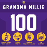 She watched her @Vikings complete a miracle and now she turns 100.  Have A Century, Grandma Millie! https://t.co/fK3wNA3fMO: GRANDMA MILLIE  SAINTS  1.14.18  VIKINGS  HAPPY  100th  FAVORITE PLAYER  ADAM THIELEN  VIKINGS  SUPER FAN  ATTENDED  MINNEAPOLIS MIRACLE  100  YEARS OLD She watched her @Vikings complete a miracle and now she turns 100.  Have A Century, Grandma Millie! https://t.co/fK3wNA3fMO