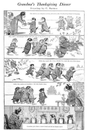 Grandma's Thanksgiving Dinner, 1912 cartoon | The Common Room: Grandma's Thanksgiving Dinner  Drawing by C. Barnes  The chaldr are dnlighted at being allmord to take Thankging inner to Graad  They met a discouragod oder and cite  of the dier  hite they watch str, Co, Bandi Foe stealts the ret of the dinna  Sadly thry arrie at Grandma's, bad she forgives shes  Grandma cires them a warm lunch and a are hasty apain Grandma's Thanksgiving Dinner, 1912 cartoon | The Common Room