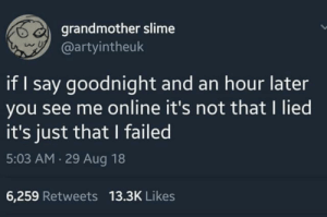 MeIRL, Online, and Slime: grandmother slime  @artyintheuk  if I say goodnight and an hour later  you see me online it's not that I lied  it's just that I failed  5:03 AM 29 Aug 18  6,259 Retweets 13.3K Likes Meirl