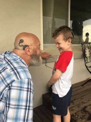 Grandpa got a cochlea implant tattoo to be just like his grandson: Grandpa got a cochlea implant tattoo to be just like his grandson
