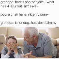 Alive, Grandpa, and Chair: grandpa: here's another joke - what  has 4 legs but isn't alive?  boy: a chair haha, nice try gran-  grandpa: its ur dog, he's dead Jimmy