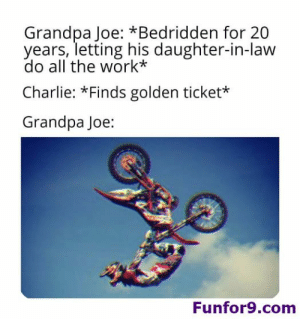 Charlie, Funny, and Golden Ticket: Grandpa Joe: *Bedridden for 20  years, letting his daughter-in-law  do all the work*  Charlie: *Finds golden ticket*  Grandpa Joe:  Funfor9.com 32 Random Funny Memes of The Day