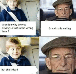 Grandpa no: Grandpa why are you  driving so fast in the wrong  Grandma is waiting  lane?  But she's dead Grandpa no