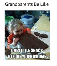 Be Like, Memes, and 🤖: Grandparents Be Like  ONE LITTLE SNACK  BEFORE YOU GO HOME