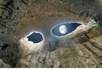 God, Shit, and Target: grandtheftchocobo:  oeblaze:  ufo-the-truth-is-out-there:  The Eyes of God. Prohodna Cave, Bulgaria Here it is at night.   Pretty sure the first picture is also at night, but super cool regardless.     Get your undertale shit outta here
