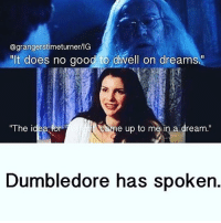 "@granger stimeturner/IG  ""It does no good to dwell on dreams  Caeae up to me in a dream  The idea for  Dumbledore has spoken. end of discussion."