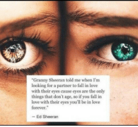 "Fall, Love, and Ed Sheeran: ""Granny Sheeran told me when I'm  looking for a partner to fall in love  with their eyes cause eyes are the only  things that don't age, so if you fall in  love with their eyes you'l be in love  forever.""  - Ed Sheeran"