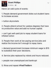 (GC): Grant Phillips  4 mins  Here's an odd cycle of events:  1. People demand government doles out student loans  to increase access.  > tuition skyrockets  2. People attend school for useless degrees that have  no productive value and add no human capital.  >can't get well-paid job to repay student loans for  inflated tuition  3. People then work at low paying service jobs and  realize the income isn't enough to repay loans.  >demand government increase minimum wage to $15  to subsidize their poor decisions.  4. Service jobs replaced by robots and hours reduced.  >people now unemployed and bankrupt  5. Rinse and repeat (GC)