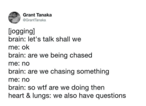 LOL this got me: Grant Tanaka  @GrantTanaka  jogging]  brain: let's talk shall we  me: ok  brain: are we being chased  me: no  brain: are we chasing something  me: no  brain: so wtf are we doing then  heart & lungs: we also have questions LOL this got me