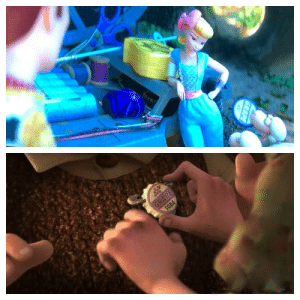 Soda, Toy Story, and Toy Story 4: GRAPE  GRAPE  SODA The grape soda merit badge from Up is given to Bo Peep in Toy Story 4