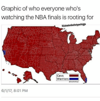 Cavs, Finals, and Memes: Graphic of who everyone who's  watching the NBA finals is rooting for  IG£akademiksthetypeofnigga  Cavs  Warriors  6/1/17, 8:01 PM