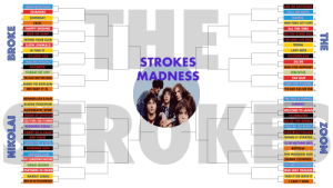 The Strokes Madness Bracket: GRATISFACTION  CHANCES  SOMEDAY  12:51  HAPPY ENDING  FEAR OF SLEEP  TRYING YOUR LUCK  SLOW ANIMALS  IS THIS IT  KILLING LIES  MACHU PICCHU  JUICEBOX  THREAT OF JOY  YOU TALK WAY TO0 MUCH  HARD TO EXPLAIN  THE WAY IT IS  ASK ME ANYTHING  CALL ME BACK  GAMES  NEW YORK CITY COPS  ALL THE TIME  ON THE OTHER SIDE  YOU ONLY LIVE ONCE  SOMA  LAST NITE  RAZORBLADE  50/50  12  12  13  STROKES  DNES  HAT EVER HAPPENED? 14  OBLIVIUS  TAP OUT  UNDER COVER OF DARKNESS  THE END HAS NO END  10  10  BETWEEN LOVE & HATE  ALONE TOGETHER  AUTOMATIC STOP  VISION OF DIVISION  CALL IT FATE, CALL IT KARMA  MODERN GIRLS  HEART IN A CAGE  RED LIGHT  TAKEN FOR A FOOL  EVENING SUN  METABOLISM  80'S COMEDOWN MACHINE  TWO KINDS OF HAPPINESS  HAWAI  WELCOME TO JAPAN  15 MINUTES  IZE OF THE WORLD  16  9  9  YOU'RE SO RIGHT  12  12  ELECTRICITYSCAPE  WHEN IT STARTED  I'LL TRY ANYTHING ONCE  REPTILIA  13  THE MODERN AGE 。  UNDER CONTROL  LIFE IS SIMPLE IN THE MOONLIGHT  ONE WAY TRIGGER  TAKE IT OR LEAVE IT .  CAN'T WIN  7 DRAG QUEEN  PARTNERS IN CRIME  BARELY LEGAL  MEET ME IN THE BATHROOM  10  10  15 The Strokes Madness Bracket