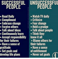 Goals, Life, and Memes: gratitude  UNSUCCESSFUL  PEOPLE  PEOPLE  Watch TV daily  Criticize  change  Fear change  others  Hold a grudge  Ideas  Talk about people  learn  Think they  responsibility know it all  failures  Blame others for  sense of  their failures  Have a sense  Set goals and  of entitlement  develop life plans  e Never set goals  (E Stick to the left 🙏🏼