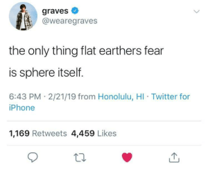 Iphone, Twitter, and Fear: graves  @wearegraves  the only thing flat earthers fear  is sphere itself.  6:43 PM 2/21/19 from Honolulu, HI Twitter for  iPhone  1,169 Retweets 4,459 Likes The society is not amused