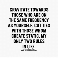 Memes, 🤖, and Static: GRAVITATE TOWARDS  THOSE WHO ARE ON  THE SAME FREQUENCY  AS YOURSELF. CUT TIES  WITH THOSE WHOM  CREATE STATIC. MY  ONLY TWO RULES  IN LIFE  Author: Dulce Ruby  Made by: thegoodquote Words from @dulceruby