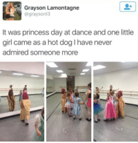 Girl, Princess, and Dance: Grayson Lamontagne  @graysonl:3  It was princess day at dance and one little  girl came as a hot dog I have never  admired someone more <p>Princess hot dog</p>