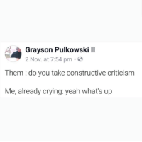 Crying, Yeah, and Criticism: Grayson Pulkowski II  2 Nov. at 7:54 pm.  Them : do you take constructive criticism  Me, already crying: yeah what's up