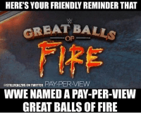 """Food, Funny, and Love: GREAT BALLS  @STILLREA12US ON TWITTER  PAY PER VIEW  WWE NAMED A PAY-PER-VIEW  GREAT BALLSOFFIRE can't wait for the promos...""""We do things on my terms... ill see you Sunday at GREAT BALLS OF FIIIIIIRE!"""" wwe wwememes raw sdlive wrestling raw sdlive funny food njpw roh love laugh haha memes jokes like follow share"""