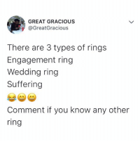 boRING 😪 Comment ⬇️⬇️⬇️ . . krakstv: GREAT GRACIOUS  @GreatGracious  There are 3 types of rings  Engagement ring  Wedding ring  Suffering  Comment if you know any other  ring boRING 😪 Comment ⬇️⬇️⬇️ . . krakstv
