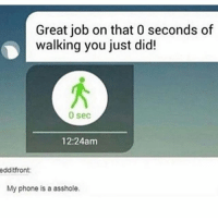 Memes, Mood, and Phone: Great job on that 0 seconds of  walking you just did!  0 sec  12:24am  edditfront:  My phone is a asshole. mood: getting so tired from waking up from a nap that u lie down and take another nap - Max textpost textposts