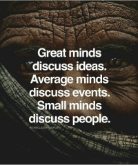 Memes, 🤖, and Events: Great minds  discuss ideas.  Average minds  discuss events  Small minds  discuss people.  THECLASSYPEOPLE On point! Love this by @theclassypeople Double tap if you agree and tag a friend that needs to see this!