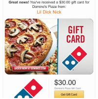 you're welcome.: Great news! You've received a $30.00 gift card for  Domino's Pizza from:  Lil Dick Nick  GIFT  CARD  ORDER NOW AT DOMINOS.COM  $30.00  Domino's Pizza Gift Card  Get Gift Card you're welcome.