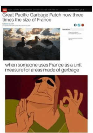 Dank, Memes, and Target: Great Pacific Garbage Patch now three  times the size of France  when someone uses France as a unit  measure for areas made of garbage Meirl by James_The_Squid MORE MEMES