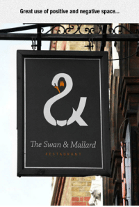 <p>Perfect Logo.</p>: Great use of positive and negative space...  The Swan & Mallard  RESTAURANT <p>Perfect Logo.</p>
