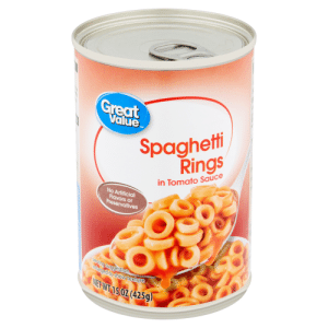 Spaghetti, Hope, and Sauce: Great  Value  Spaghetti  Rings  TM  in Tomato Sauce  No Artificial  Flavors or  Preservatives  Serving suggestion  enlarged to show texture  NET WT 15 OZ (425g) I went all out for my proposal, 1,000 rings. I hope she says yes!
