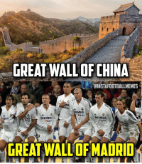 Football, Memes, and China: GREAT WALL OF CHINA  LINSTAFOOTBALLMEMES  ENENS  SEMENS  SIEMENS  mobe  MGREATWALLOFMADRID Old but gold! 😂😎 🔺FREE FOOTBALL APP -> LINK IN OUR BIO!!