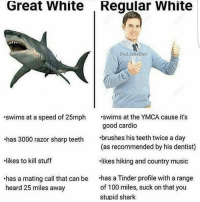 lol itsfuckingfunny whitepeopleproblems: Great White  Reqular White  BadJokeBen  swims at a speed of 25mph .swims at the YMCA cause it's  good cardio  (as recommended by his dentist)  likes hiking and country music  has 3000 razor sharp teeth brushes his teeth twice a day  likes to kill stuff  has a mating call that can be .has a Tinder profile with a range  heard 25 miles away  of 100 miles, suck on that you  stupid shark lol itsfuckingfunny whitepeopleproblems