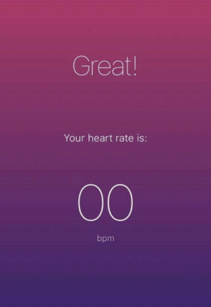 heart rate: Great!  Your heart rate is:  00  bpm