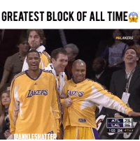 Memes, Time, and Tag Someone: GREATEST BLOCK OF ALL TIME  FSLAKERS  TAKERS  ATL  LAL  75  96  1:55 24 4TH  CANKLESHALTER Tag someone you'd block like this😂 Follow (me) @ankleshatter!
