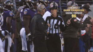 """Any time there's a first, it's a game changer.""  Sarah Thomas made history when she became the NFL's first full-time female official. 👏  📺: #NFL100 GREATEST GAME CHANGERS 