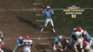 "Incredible arm. Field general. Surgical on the field.  ""Warren Moon paved the way... and it's not said enough."" @WMoon1   📺: #NFL100 GREATEST GAME CHANGERS 