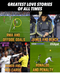 Barcelona, Goals, and Memes: GREATEST LOVESTORIES  OF ALL TIMES  RMA AND  OFFSIDE GOALS JAMES AND BENCH  BARCELONA  #HAyat  RMA 0.0 CELI  34:45  LADIES  REmi  RONALDO  RAMOS AND  AND PENALTY  RED CARDS 😂😂😂