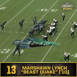 "No. 13: Marshawn Lynch's BeastQuake (Jan. 8, 2011) @Seahawks @MoneyLynch #NFL100  📺: NFL 100 Greatest Plays on @NFLNetwork https://t.co/gZi9WgKLqS: GREATEST  PLAYS  05 2ND &10  33  13  MARSHAWN LYNCH  ""BEAST QUAKE"" ('10)  NFC WILD CARD  S No. 13: Marshawn Lynch's BeastQuake (Jan. 8, 2011) @Seahawks @MoneyLynch #NFL100  📺: NFL 100 Greatest Plays on @NFLNetwork https://t.co/gZi9WgKLqS"