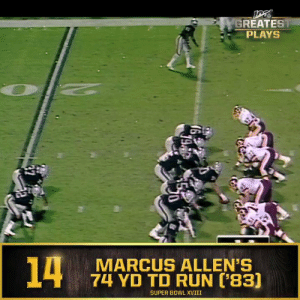 Memes, Nfl, and Run: GREATEST  PLAYS  14  MARCUS ALLEN'S  74 YD TD RUN ['83]  SUPER BOWL XVIII No. 14: @MarcusAllenHOF's 74-yard TD run in @SuperBowl XVIII (Jan. 22, 1984) #NFL100  📺: NFL 100 Greatest Plays on @NFLNetwork https://t.co/GIX03oItWB