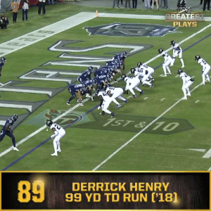 Derrick Henry, Memes, and Nfl: GREATEST  PLAYS  1ST& 1  89  DERRICK HENRY  99 YD TD RUN ['18] Last time the @Titans and @Jaguars took the field on #TNF... One of the 100 greatest plays in NFL history happened. @KingHenry_2  📺: #TENvsJAX | Thursday 8pm ET on @NFLNetwork 📱: NFL app // Yahoo Sports app https://t.co/ZZltbINKIm