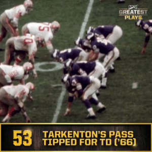 No. 53: Fran Tarkenton's eludes multiple defenders for 40-yard TD pass (Oct. 30, 1966) #NFL100  ?: NFL 100 Greatest Plays on @NFLNetwork https://t.co/z1tf1I40sI: GREATEST  PLAYS  53  TARKENTON'S PASS  TIPPED FOR TD ('66] No. 53: Fran Tarkenton's eludes multiple defenders for 40-yard TD pass (Oct. 30, 1966) #NFL100  ?: NFL 100 Greatest Plays on @NFLNetwork https://t.co/z1tf1I40sI